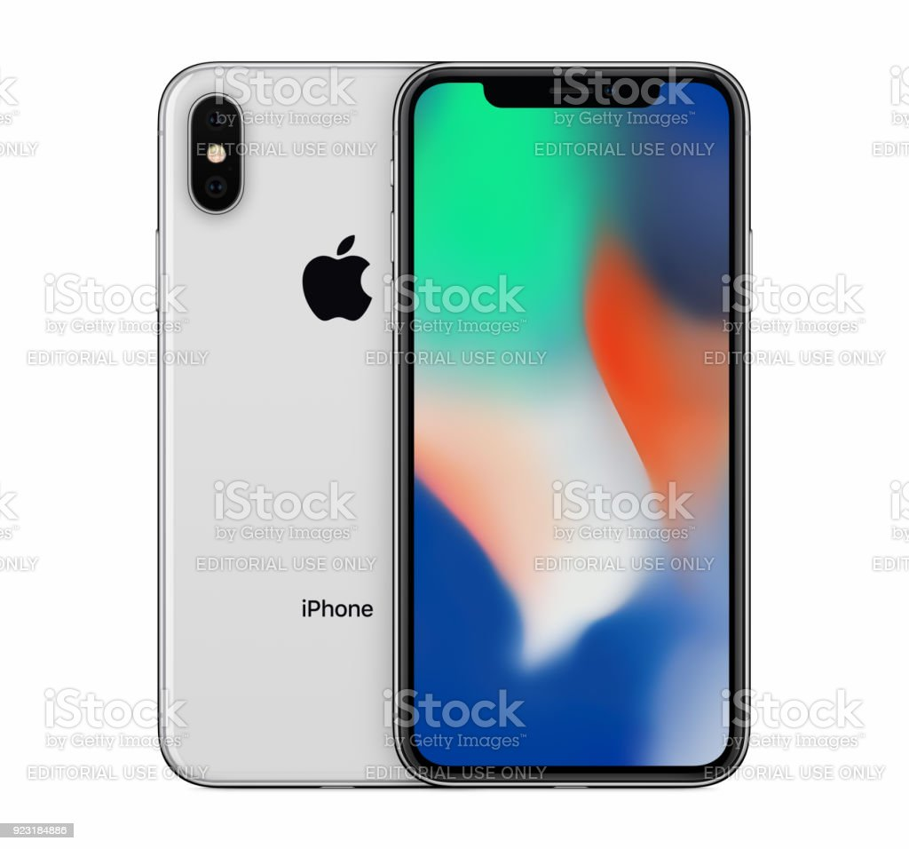Silver Apple iPhone X mockup front view with wallpaper screen and iPhone 10 back side behind it stock photo