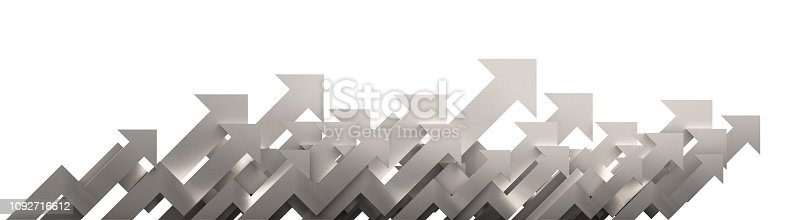 1014755036 istock photo Silver arrow. Growing business background concept.3D rendering. 1092716612