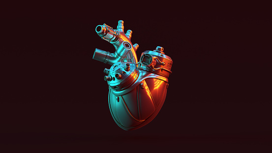 Silver Artificial Cyborg Heart with Red Orange and Blue Green Moody 80s lighting Front 3d illustration 3d render