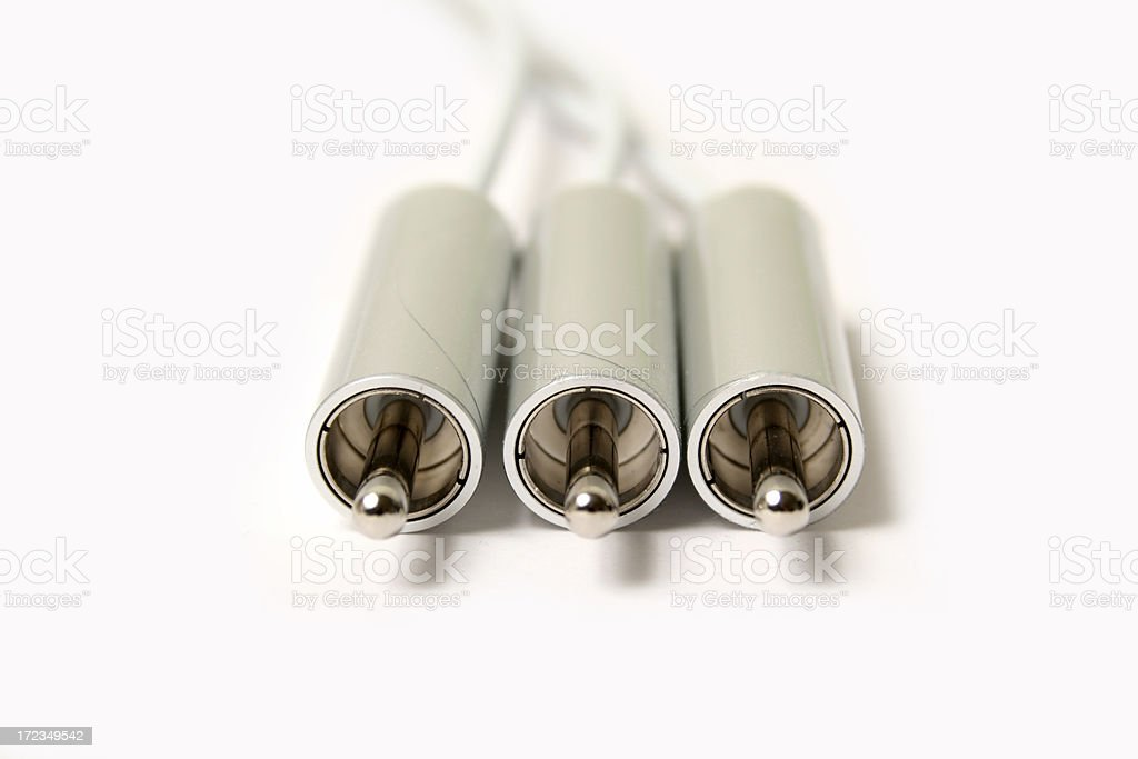 Silver Audio cable stock photo