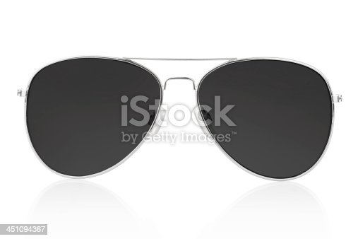 Black aviator sunglasses isolated on white, clipping path included