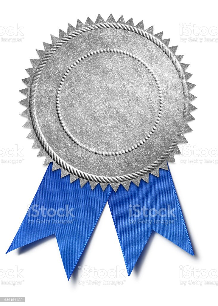 Silver Award Seal With Blue Ribbon stock photo