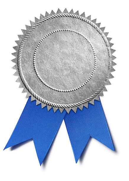 silver award seal with blue ribbon - award ribbon stock photos and pictures