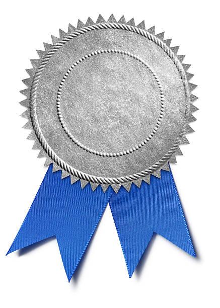 Silver Award Seal With Blue Ribbon stock photo