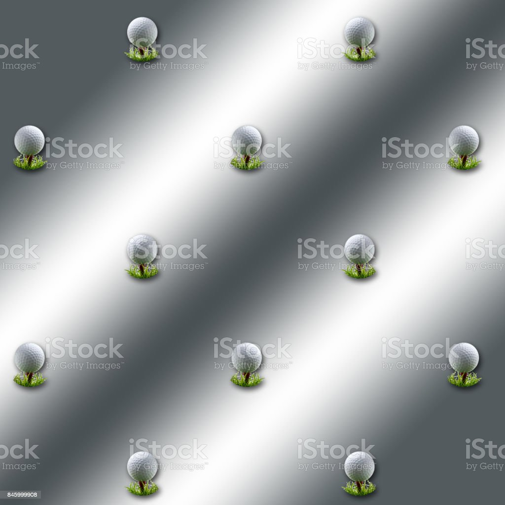 3D, Silver background, with golfball on tees equally spread. stock photo