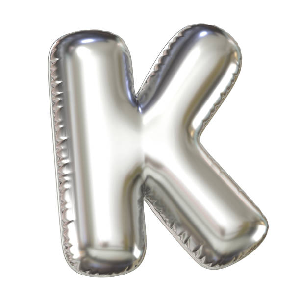 Silver balloon font 3d rendering, letter K Silver balloon font 3d rendering, letter  K isolated illustration k icon stock pictures, royalty-free photos & images