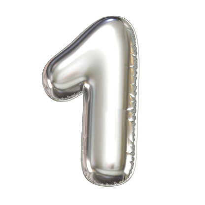 istock Silver balloon font 3d rendering, number 1 1067023656