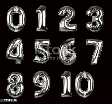 istock Silver Balloon Numbers 1-10 (+clipping paths, XXL) 157393148