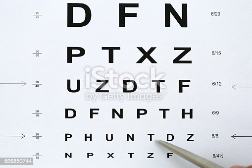 istock Silver ballpoint pen pointing to letter in eyesight check table 526850744