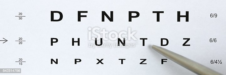 istock Silver ballpoint pen pointing to letter in eyesight check table 542314756