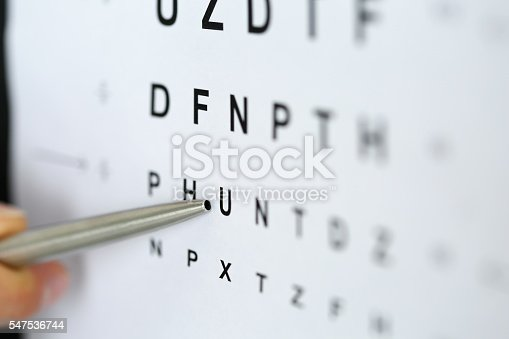 istock Silver ballpoint pen pointing to letter in eyesight check table 547536744