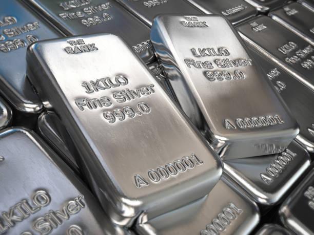 Silver bars or ingots background. Precious metal. stock photo