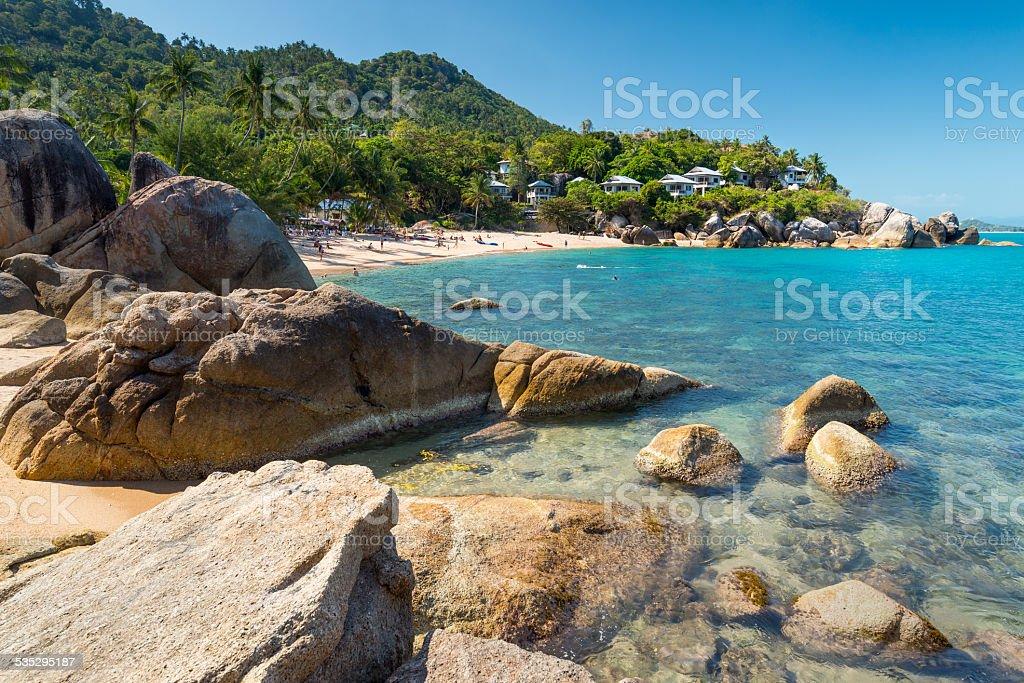 Silver beach, Crystal Beach view at Samui Island Thailand stock photo