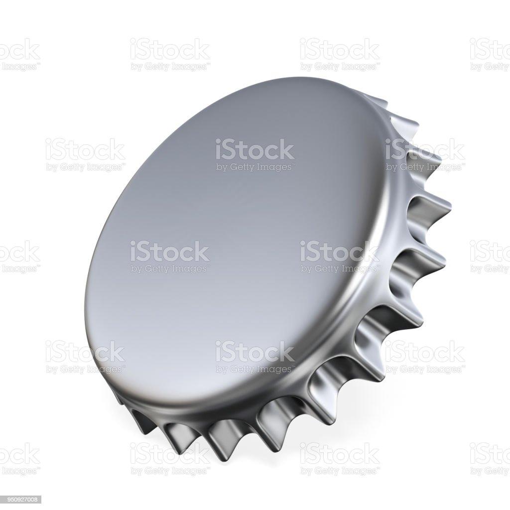 Silver beer cap 3D stock photo