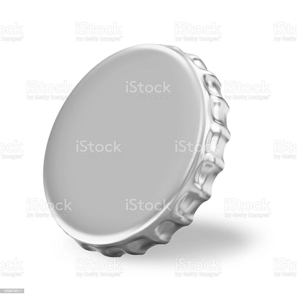 Silver Beer Cap on white background stock photo