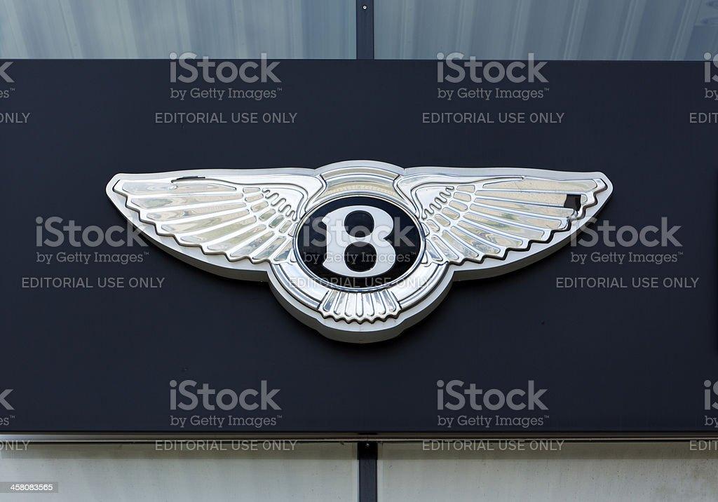 Silver Bentley sign on facade stock photo