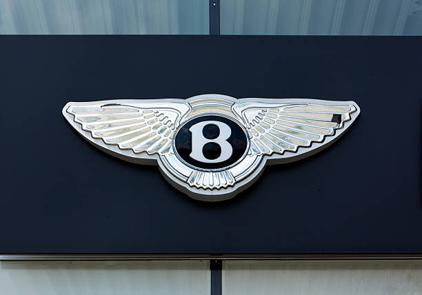 Silver Bentley sign on facade stock photo