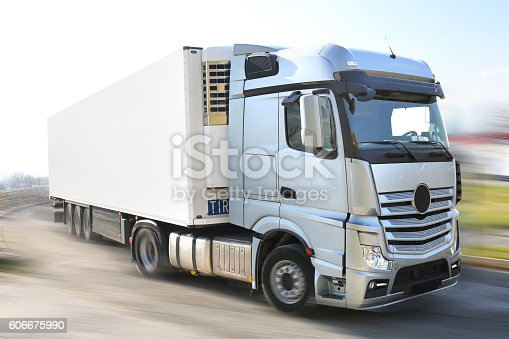 istock Silver big Lorry - clipping mask 606675990