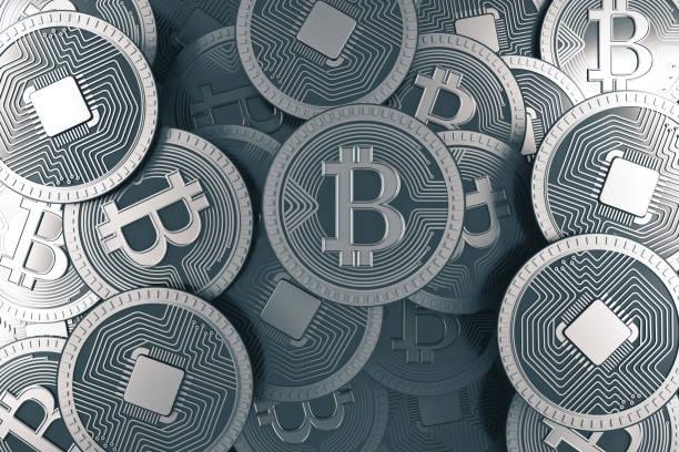 Silver bitcoin background stock photo