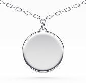 istock Silver blank medallion or medal on a chain on white 545448002