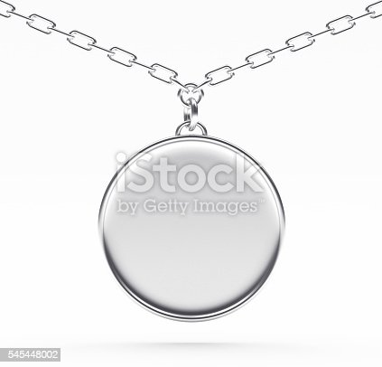 Silver blank round medallion or medal on a chain isolated on white background.