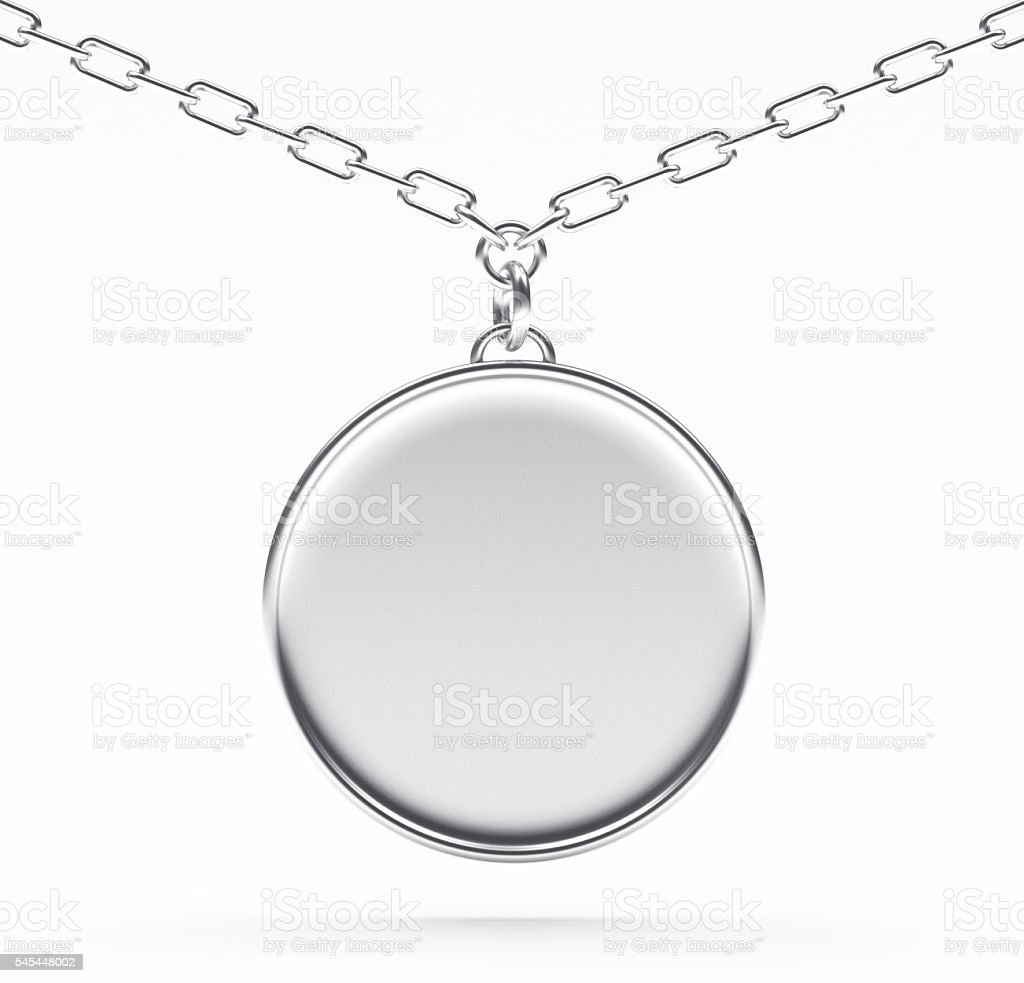 Silver blank medallion or medal on a chain on white stock photo