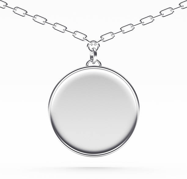 Silver blank medallion or medal on a chain on white Silver blank round medallion or medal on a chain isolated on white background. amulet stock pictures, royalty-free photos & images