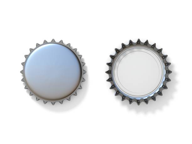 Silver bottle caps 3D Silver bottle caps 3D render illustration isolated on white background bottle cap stock pictures, royalty-free photos & images