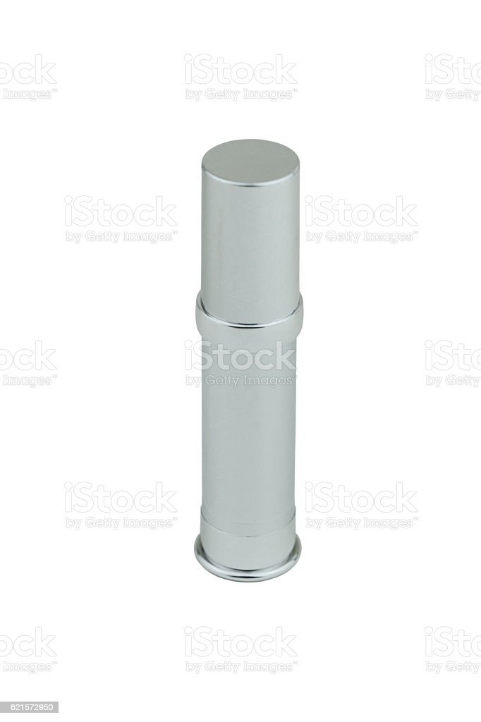 Silver bottle of cosmetic product on white isolated. photo libre de droits