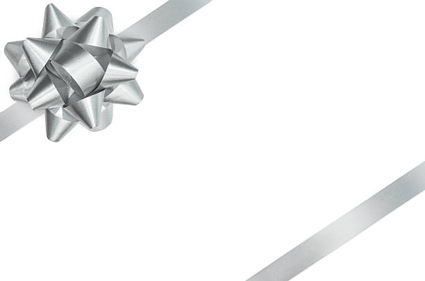 Silver bow and ribbon isolated clipping path stock photo