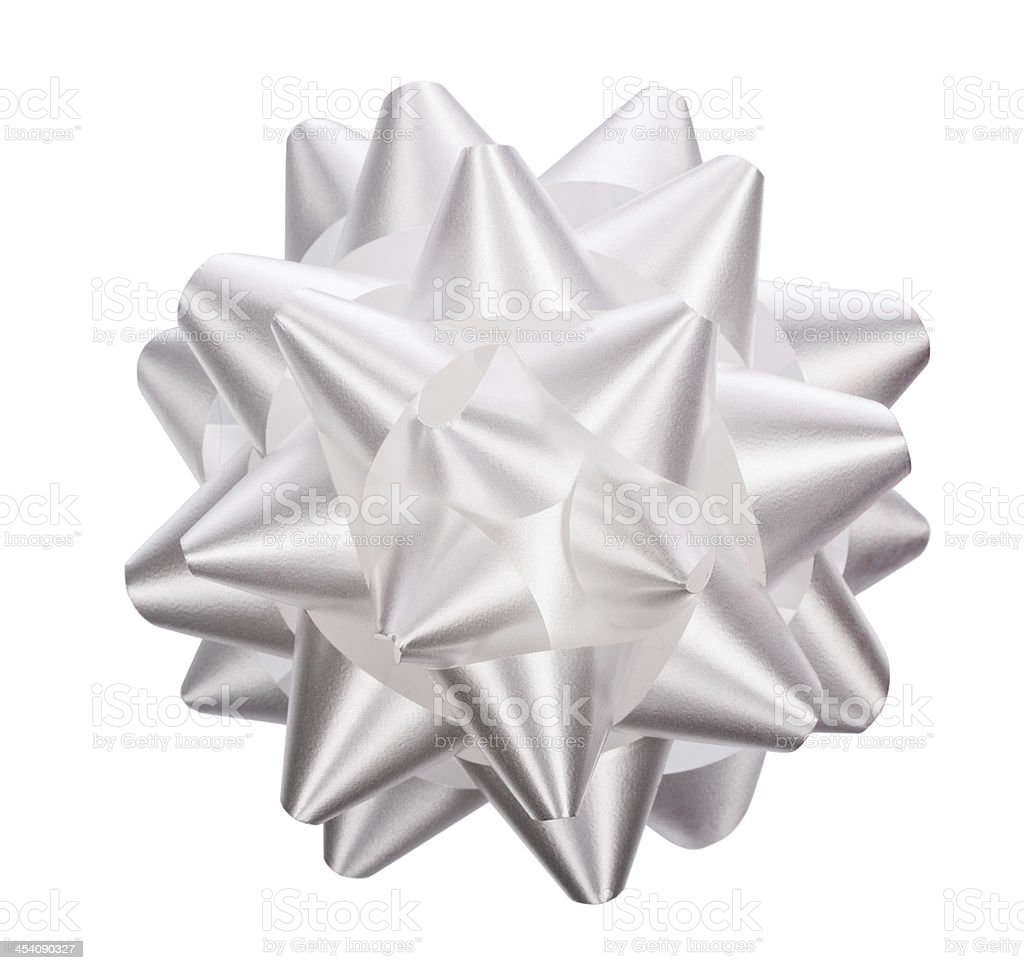 Silver Bow Isolated On The White stock photo