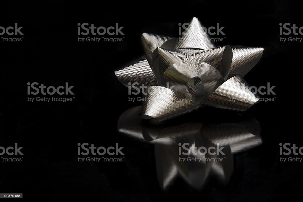 Silver Bow on Black royalty-free stock photo