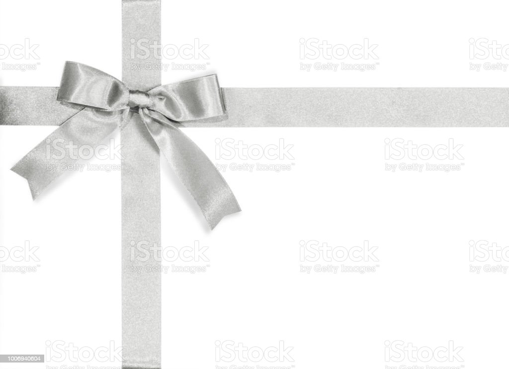 Silver Bow Satin Ribbon Isolated On White Background With Clipping