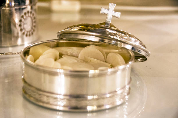 Silver bowl for the Christian holy communion stock photo