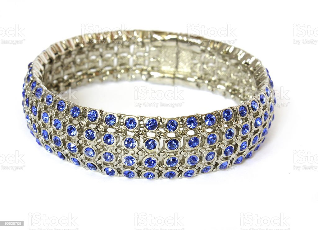 silver bracelet with blue crystals royalty-free stock photo