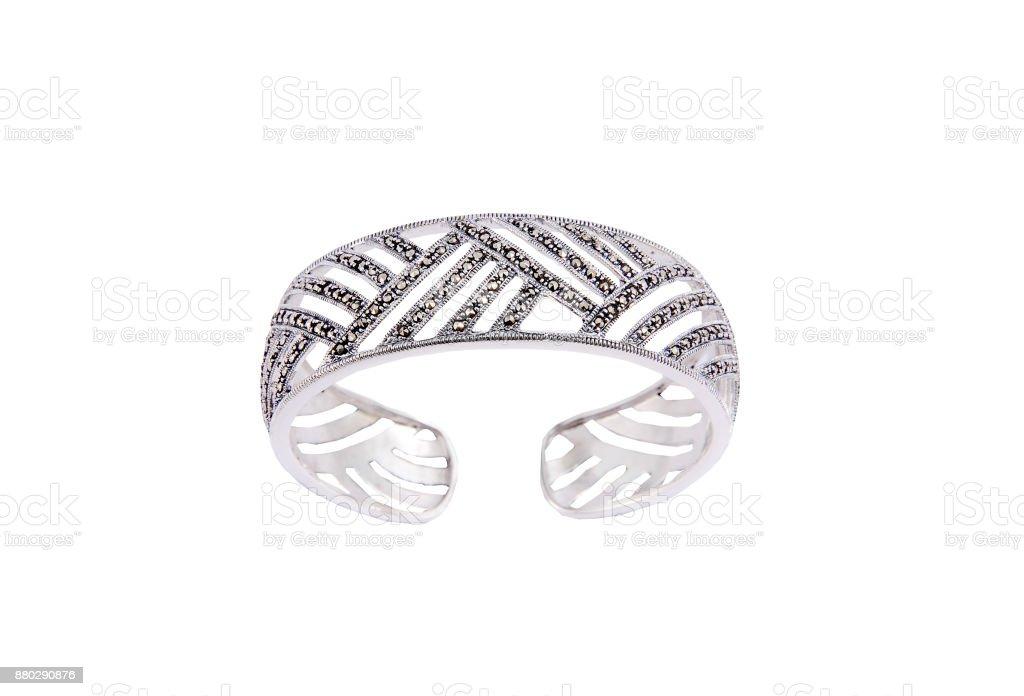 silver Bracelets on Isolated White Background stock photo