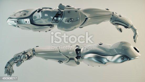 istock Silver brawny cyber arms 450908217
