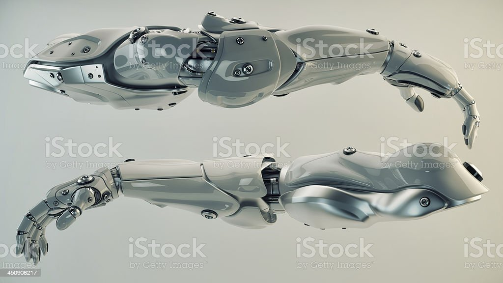 Silver brawny cyber arms stock photo