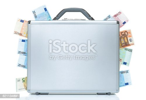 istock Silver breifcase with money coming out of the sides 521134891