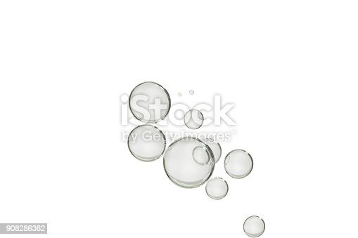A group of transparent bubbles isolated over a white background.