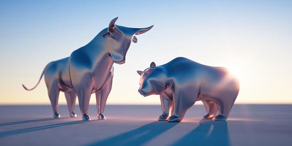 Silver Bull and Bear in Evening Sun