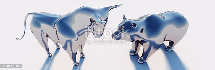 Silver Bull and Bear on white Background with Sunlight