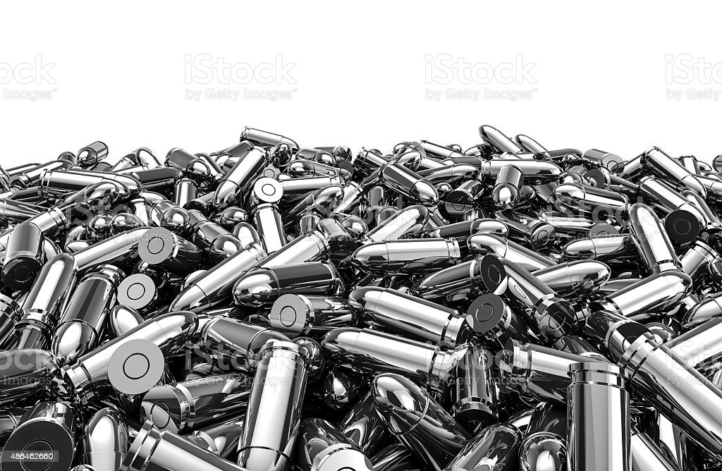 Silver bullets pile stock photo