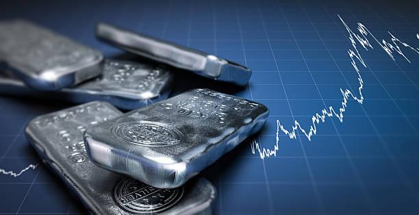 Silver Bullion Bars and Price Chart stock photo
