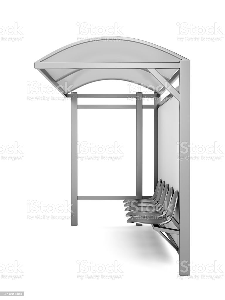 Silver bus stop with seats and roof stock photo