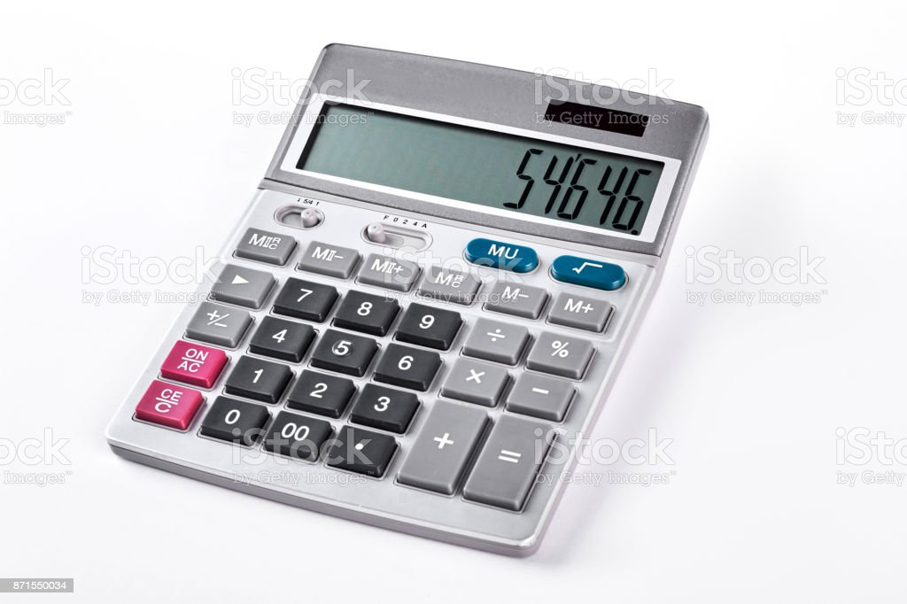 Silver calculator isolated on white background. stock photo