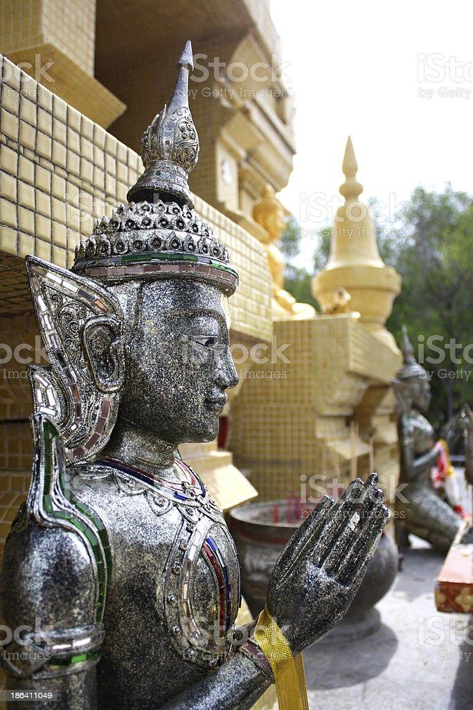 silver cambodia-art buddha statue royalty-free stock photo