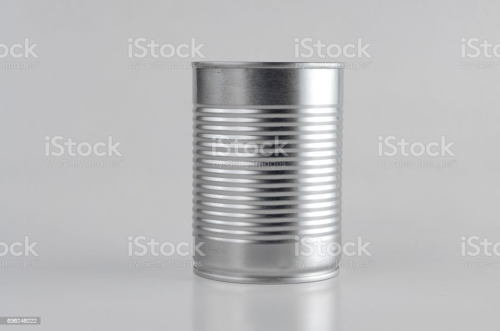 Silver can over white background stock photo