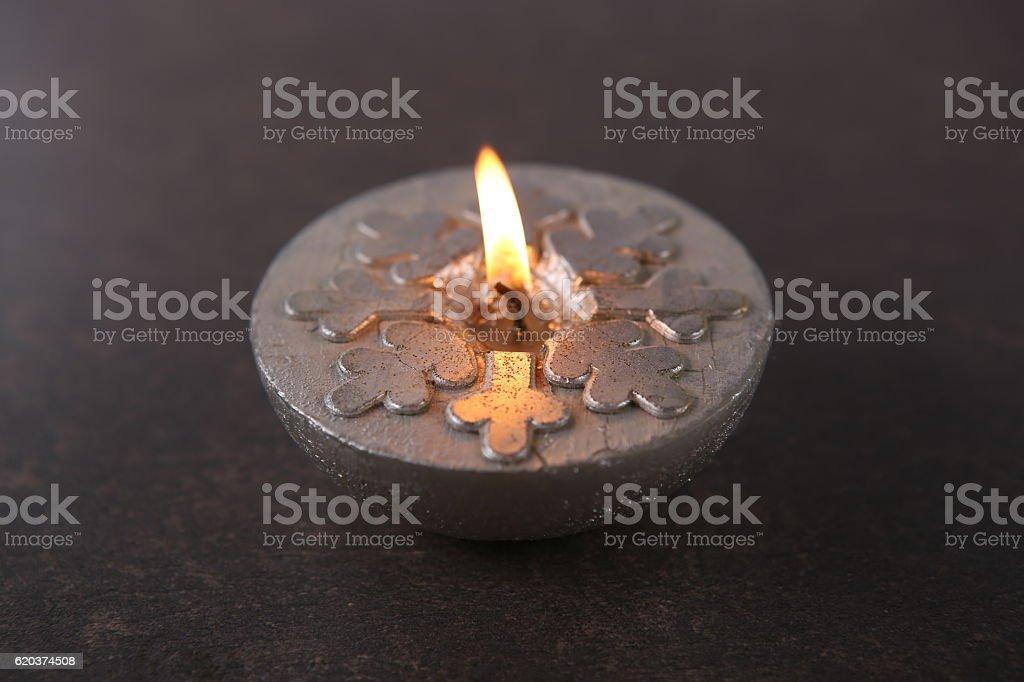 Silver  candle  with snowflakes zbiór zdjęć royalty-free