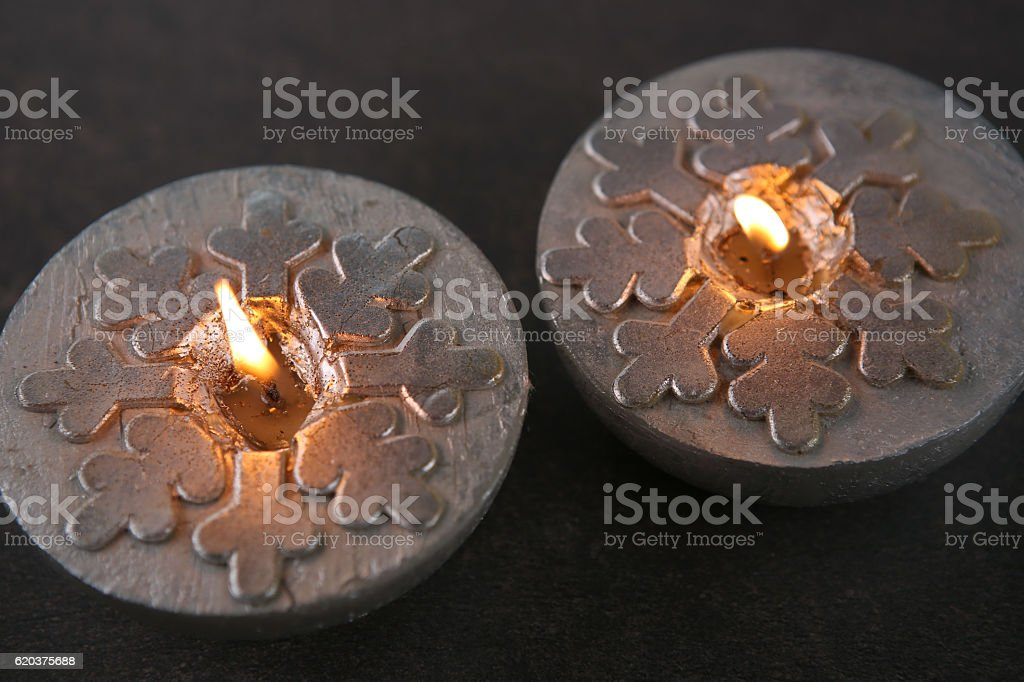 Silver  candles  with snowflakes foto de stock royalty-free
